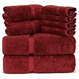 Luxury Spa and Hotel Quality Premium Turkish 8 Pieces Towel Set (2 x Bath Towels 2 x Hand Towels 4 x Wash Cloths Burgundy)