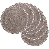 SHACOS Round Placemats Set of 6 Braided Border Round Table Placemats 15 inch Shiny for Wedding Holiday Party (Multicolor - Li