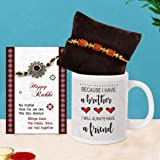 TIED RIBBONS Rakhi for Brother with Card - Loving Brother Gifts from Sister Rakhi Coffee Mug with Wishes Card