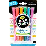 Crayola Take Note Highlighter Pens! 6 Double Ended Highlighters perfect for writing and highlighting to make notes stand out!