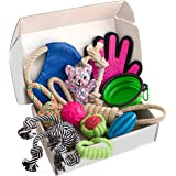 Zenify Puppy Dog Toys Gift Box - Pet Interactive Dog Rope Toy Starter Set - Tug Cotton Fetch Ball Rubber Training Puppies Pla