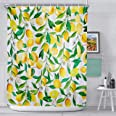 AnberCare Fabric Shower Curtain with Hooks, Polyester Fabric Machine Washable Shower Curtains 72' x 72', Yellow Lemon Patter