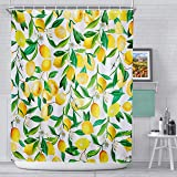 AnberCare Fabric Shower Curtain with Hooks, Polyester Fabric Machine Washable Waterproof Shower Curtains 72'x72', Lemon