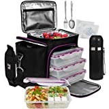 Complete Meal Prep Lunch Box - 8 Pcs Set: Cooler Bag 3X Portion Control Bento Lunch Containers Leakproof 3 Compartments Micro