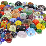 Glass Beads for Jewelry Making for Adults 120-140 Pieces Premium Quality Lampwork Murano Loose Bulk Beads for Bracelets, Neck