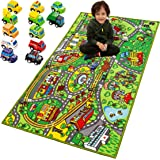 "Carpet Playmat w/ 12 Cars Pull-Back Vehicle Set for Kids Age 3+, Jumbo Play Room Rug (79"" x 40""), City Pretend Play"
