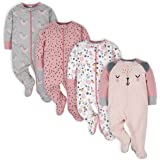 Gerber Baby Girls' 4 Pack Sleep 'N Play Footie