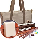 Yellow Mountain Imports American Mahjong Set - Mojave (Ivory) - with Brown Soft Case, All-in-One Racks with Pushers, Wind Ind