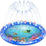 "Chuchik Splash Pad for Toddlers – 68"" Water Splash Mat Summer Outdoor Water Sprinkler for Kids, Water Inflatables for Kids, P"