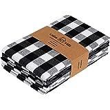 Urban Villa Kitchen Towels, Premium Quality,100% Cotton Dish Towels,Mitered Corners,Ultra Soft (Size: 20X30 Inch), Black/Whit