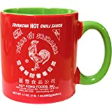 Large 590ml Sriracha Hot Sauce Red And Green Ceramic Mug