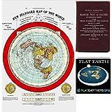 フラットアースマップ - グリーソンの新しい世界地図 - 大型24インチ x 36インチ 1892年ポスター 無料電子書籍とフラットアースバンパーステッカー付属