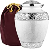 Trupoint Memorials Silver Linings White Adult Large Urn for Human Ashes