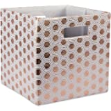 """DII Hard Sided Collapsible Fabric Storage Container for Nursery, Offices, & Home Organization, (11x11x11"""") - Honeycomb Copper"""