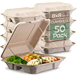 "100% Compostable Clamshell Take Out Food Containers [8X8"" 3-Compartment 50-Pack] Heavy-Duty Quality to go Containers, Natural"