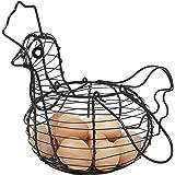 Farmhouse Style Black Metal Wire Chicken Design Egg Basket/Decorative Kitchen Storage Baskets
