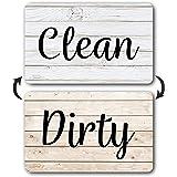 Rustic Wood Clean Dirty Dishwasher Magnet, Reversible Dish Washer Sign, Double Sided Strong Kitchen Flip Indicator, Bonus Uni