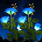 2 Pack Solar Decorative Rose Stake Lights for Porch Outdoor Garden Memorial Cemetery Backyard Decor Flower Bed Decoration (Bl