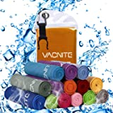 VACNITE クールタオル 速乾タオル 超吸水 軽量 速乾 熱中症対策 100×30cm 1枚 14種類選択可能 防水袋付き
