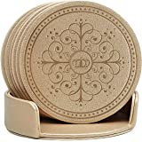 Drinks CoastersClassic Pattern Faux Leather Coaster Set of 6 with Holder Absorbent Coasters by Happydavid (gold round)