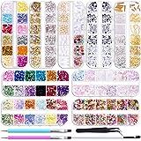 Duufin 12890 Pcs Nail Art Rhinestones Nail Art Crystal Jewels Nail Gems Nail Studs with 1 Pick up Tweezers and 2 Wax Pens for