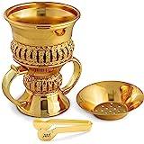AM Regal Metal Incense Burner - Bakhoor Burner Mubkhara – Frankincense Insence Burner - Ideal for Yoga, Spa & Aromatherapy (G