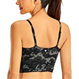 CRZ YOGA Women's Longline Yoga Bra Adjustable Straps Wirefree Padded Sports Bra Workout Crop Tank Tops