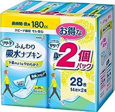 リリーフ ふんわり吸水ナプキン 長時間・夜用 (180cc) 14枚×2個パック
