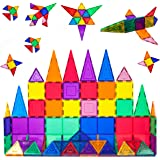 PicassoTiles 60 Piece Set 60pcs Magnet Building Tiles Clear Magnetic 3D Building Blocks Construction Playboards - Creativity