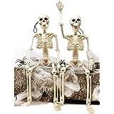 """JOYIN 2 Packs 16"""" Posable Halloween Skeletons   Full Body Posable Joints Skeletons for Halloween Decoration, Graveyard Decora"""