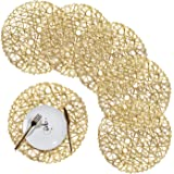 Emma's Round Braided Placemats Set of 6 Washable Round Placemats for Kitchen Table 15''/38cm Golden Placemat for Wedding,Holi