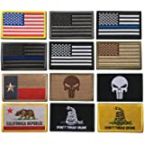 Bundle 12 Pieces USA Flag Patch Thin Blue Line Tactical American Flag US United States Military Morale Patches Set for Caps,B