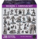 28 Hero & Animal Miniatures for DND 28mm | Multi-Race Tabletop Fantasy Minis for Dungeons Dragons D&D Figurines Pathfinder an