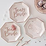 Ginger Ray TB-632 Rose Gold Foiled Pink Hen Party Paper Plates