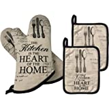 GREVY Quilted Cotton Pot Holders with Thumb Position Pocket Heat Resistant Oven Mitts for Cooking or Baking,7x9,Set of 2, 4 P