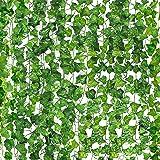 MOSfilian Artificial Ivy Leaf Plants Vine, 12 Strands 87 Feet Artificial Garlands Fake Foliage Flowers Hanging Vine for Home