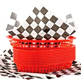 Retro Style Red Fast Food Basket 6 Pk and Black Checkered Deli Liner 60 Pk Combo. Classic 11 In Deli Baskets Are Microwavable