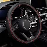 Labbyway Car Universal 15-inch Microfiber Steering Wheel Cover,Anti-Slip,Odorless,Four Seasons Universal (Black)