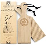 Gnocchi Boards and Wooden Butter Paddles to Easily Create Authentic Homemade Pasta and Butter Without Sticking - Set of 2 Mak