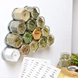 15-Pack Magnetic Spice Jars Hexagon Glass Spice Jars with Stainless Steel Strong Magnet Lids - Space Saving Storage for Dry H