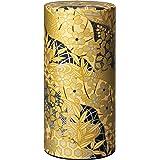 Japanese tea canister tin Koganee / golden Yuzen paper / double lid / air-tight / 200g tea capacity
