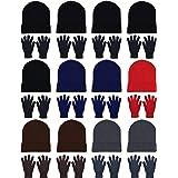 24x Winter Beanies & Gloves Combo Pack, Bulk Pack for Men Women, Warm Cozy Gift