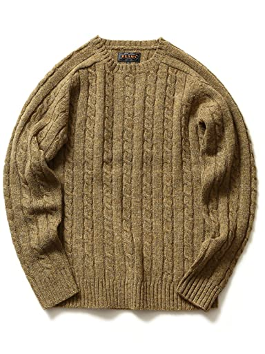 Cable Crewneck Sweater 11-15-0538-103: Khaki