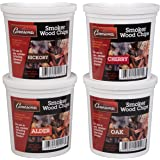 Oak, Cherry, Hickory, and Alder Wood Smoking Chips- 4 Pints - Wood Smoker Shavings Value Pack- Resealable Pints of Extra Fine