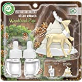 Air Wick Plug in Scented Oil Starter Kit with Tree and Reindeer Free Decorative Warmer + 2 Refills, Woodland Pine, Fall Scent