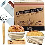 Shori Bake Bread Banneton Proofing Basket Set of 2 Round 9 Inch & 9.6 Inch Oval + Sourdough Bread Making Tools Kit, Baking Gi