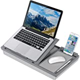 LapGear Ergo Pro Lap Desk with 20 Adjustable Angles, Mouse Pad, and Phone Holder - Gray - Fits up to 15.6 Inch Laptops and Mo