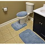 Garland Rug BA010W3P02J4 Traditional Bath Rug Set, 3-Piece Set, Basin Blue