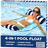 Aqua AQL12674S1 Monterey 4-in-1 Multi-Purpose Inflatable Hammock (Saddle, Lounge Chair, Hammock, Drifter) Portable Pool Float