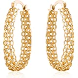 18K Gold Plated Gold Layered Link Hoop Earrings
